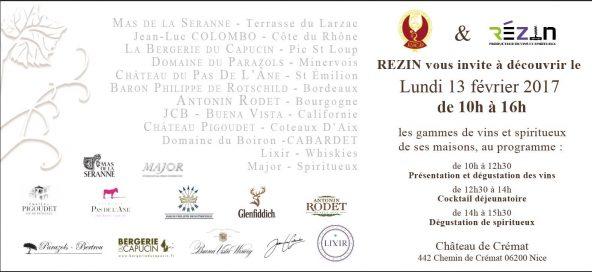ASNCAP & REZIN vous invite à la dégustation des vins et des spiritueux le 13 Février au Château de Crémat