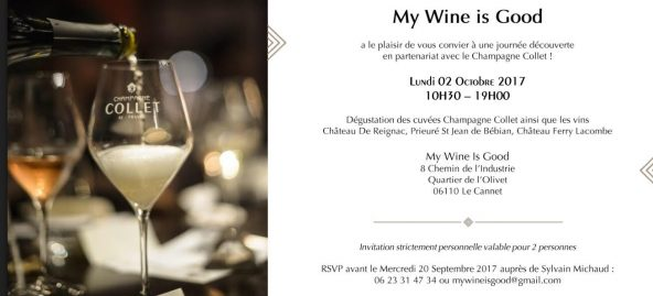 My Wine Is Good vous invite à une dégustation le 2 Octobre