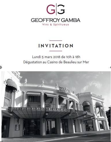 Geoffroy Gamba a le plaisir de vous convier au Casino de Beaulieu le lundi 5 Mars 2018
